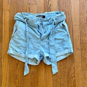 Express extreme high rise blue jean shorts